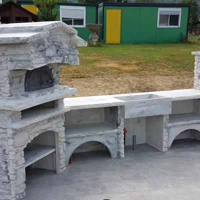 cuisine d'été en pierre reconstituée