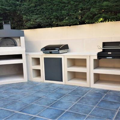 cuisine d'été moderne en pierre reconstituée