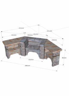 VALBONNAIS 800 D'ANGLE Pierre sèche, Veinage Gris, Sans hotte, Grill IRISSARY Inox 800 mm