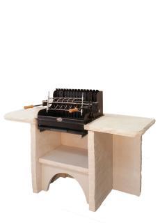 BELLEFOND DOUBLE PLATEAU Ardoise, Veinage Bourgogne, Sans hotte, Grill Mendy Acier 600 mm