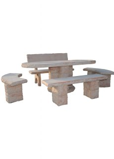 table de jardin en pierre seche
