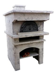 four à bois en fonte avec habillage toit plat