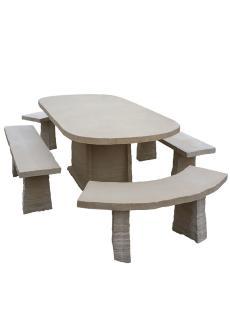 table ovale en pierre reconstituee