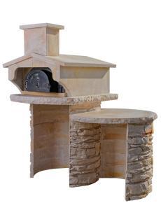 Four à bois en fonte Vence 6755 habillage pierre Poncée, Veinage Gris