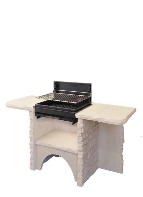 Barbecue bellefond en pierre reconstitu e avec double plateau for Barbecue de jardin fixe