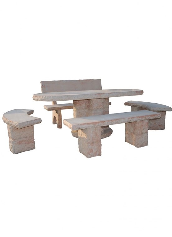 Table de jardin ovale en pierre reconstitu e style pierre for Table jardin en pierre