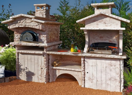 Cuisine d t d ext rieur en pierre avec four pain et for Cuisine 0 la plancha