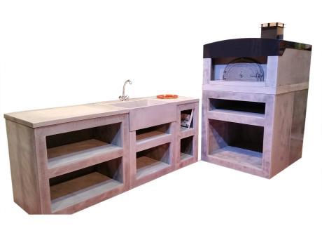cuisine d'exterieur avec four à bois