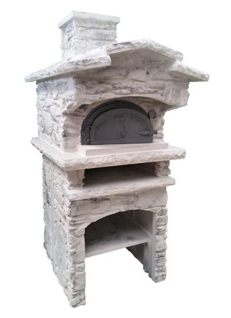 Four à bois d'Antan 6755 en fonte habillage Pierre sèche, Veinage Gris