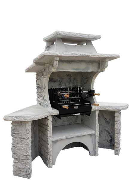 barbecue en pierre reconstituee gril avec tourne broche acier
