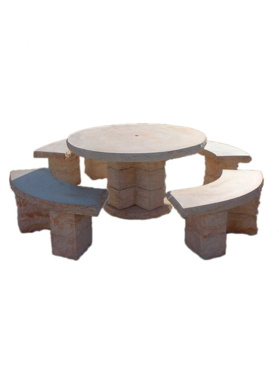 Table de jardin en pierre reconstitu e type pierre s che 8 for Table jardin en pierre