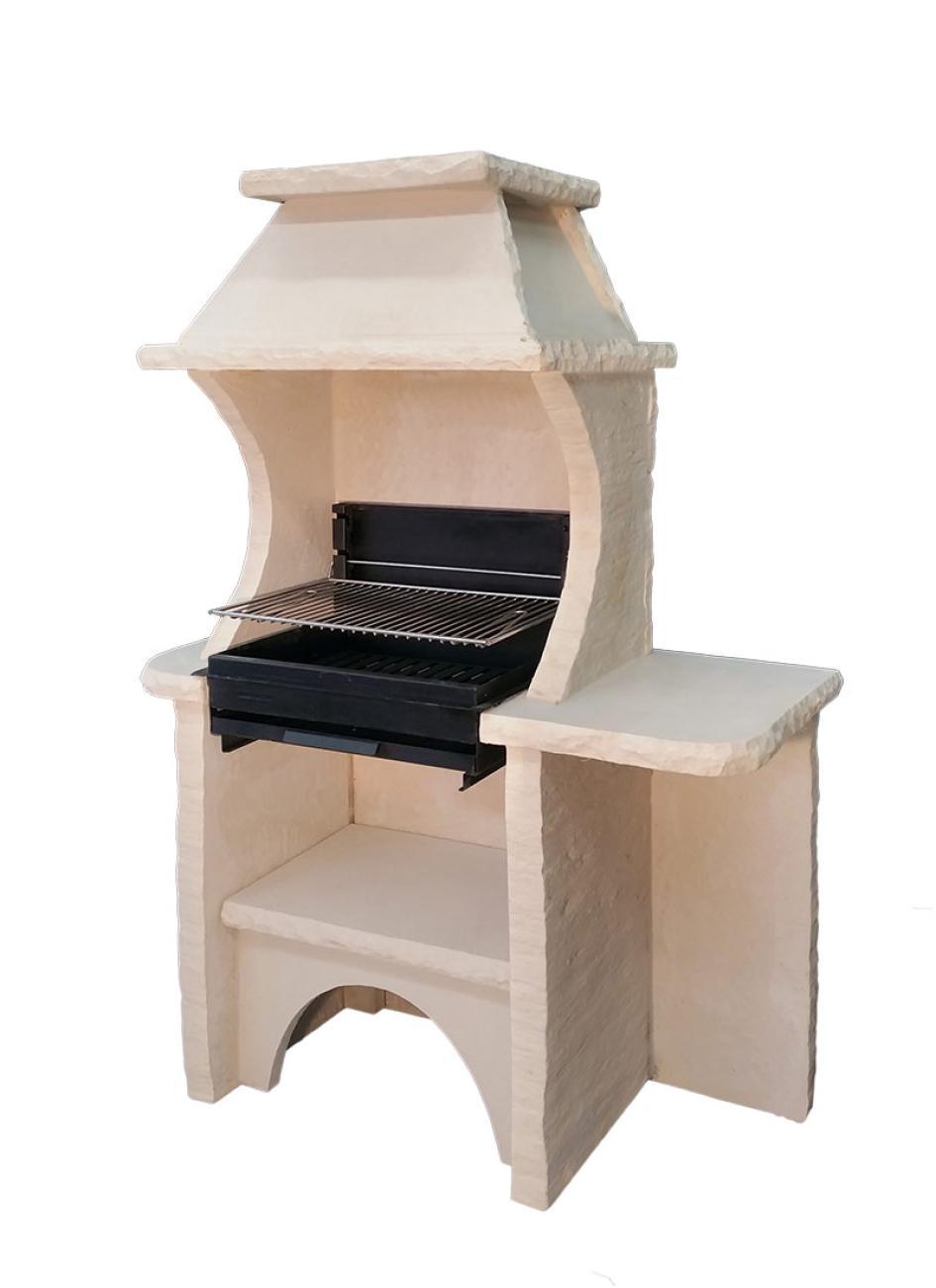 barbecue en pierre reconstitu e avec hotte et gril foyer horizontal. Black Bedroom Furniture Sets. Home Design Ideas