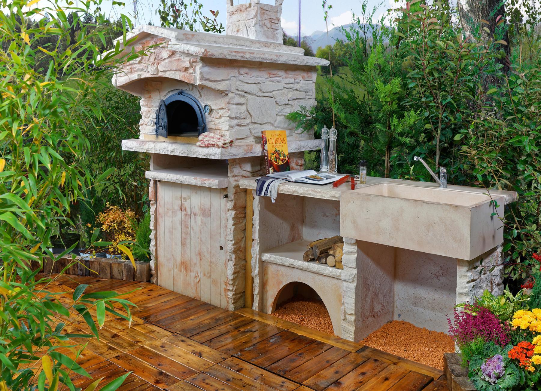 Cuisine d t ext rieure en pierre avec four pain vier en pierre - Four a pizza de jardin ...