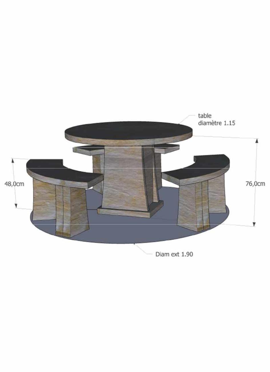Salon de jardin en pierre reconstitu e tables et bancs en pierre - Table de jardin en pierre ...