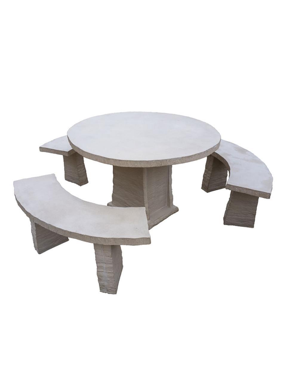 Salon de jardin en pierre reconstituée, tables et bancs en ...