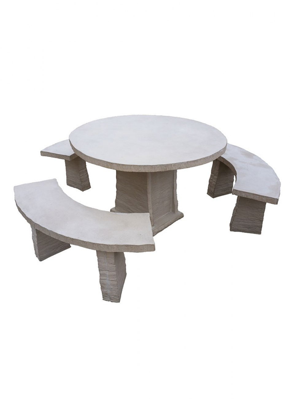 salon de jardin en pierre reconstitu e tables et bancs en pierre. Black Bedroom Furniture Sets. Home Design Ideas