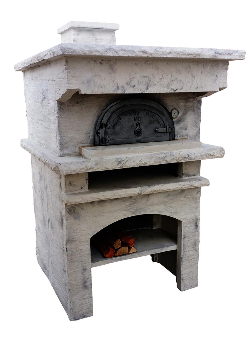 Four bois d antan 8575 en fonte habillage pierre for Four a bois exterieur prix