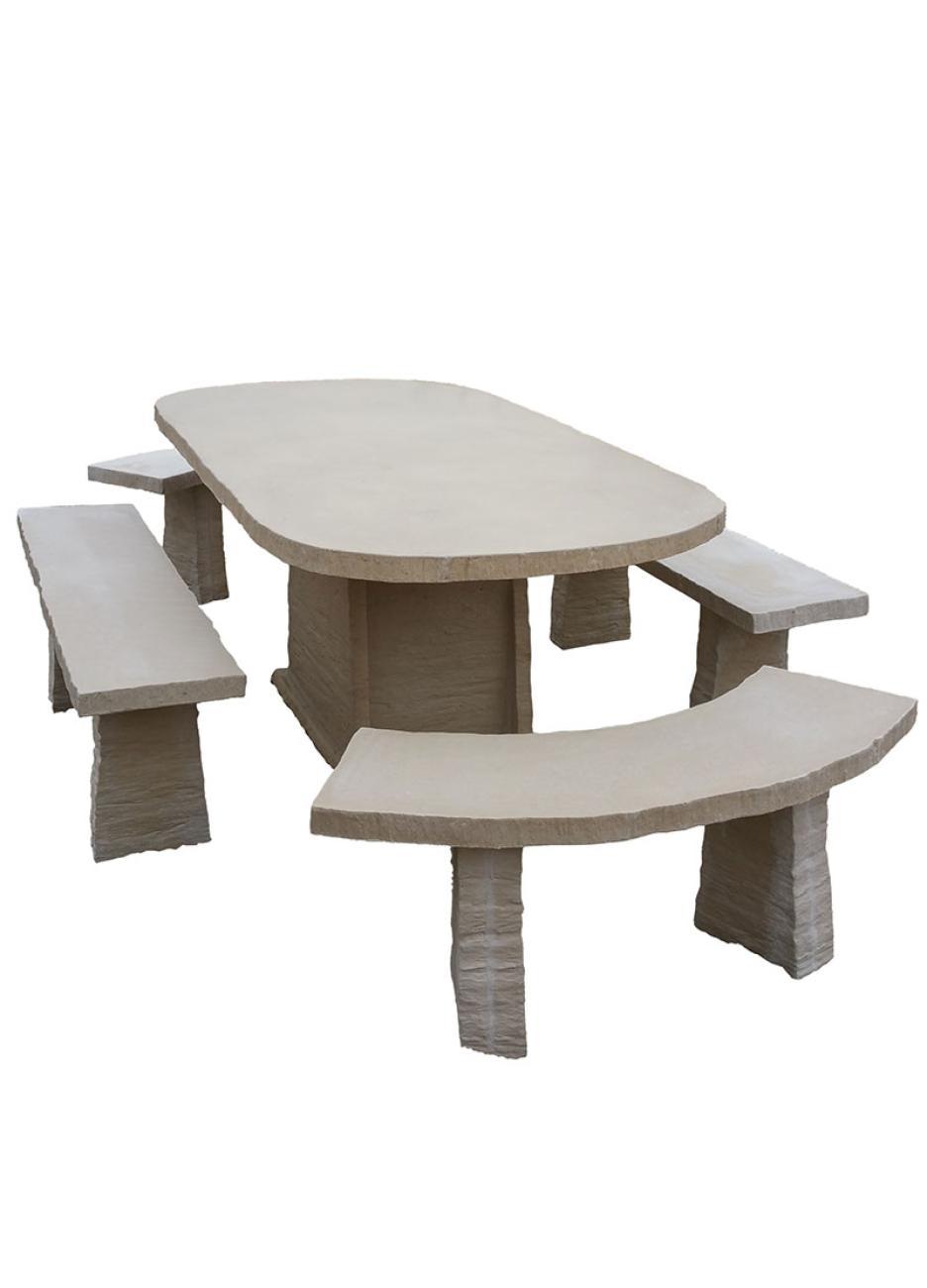 Table de jardin ovale en pierre reconstituée avec bancs 10 ...