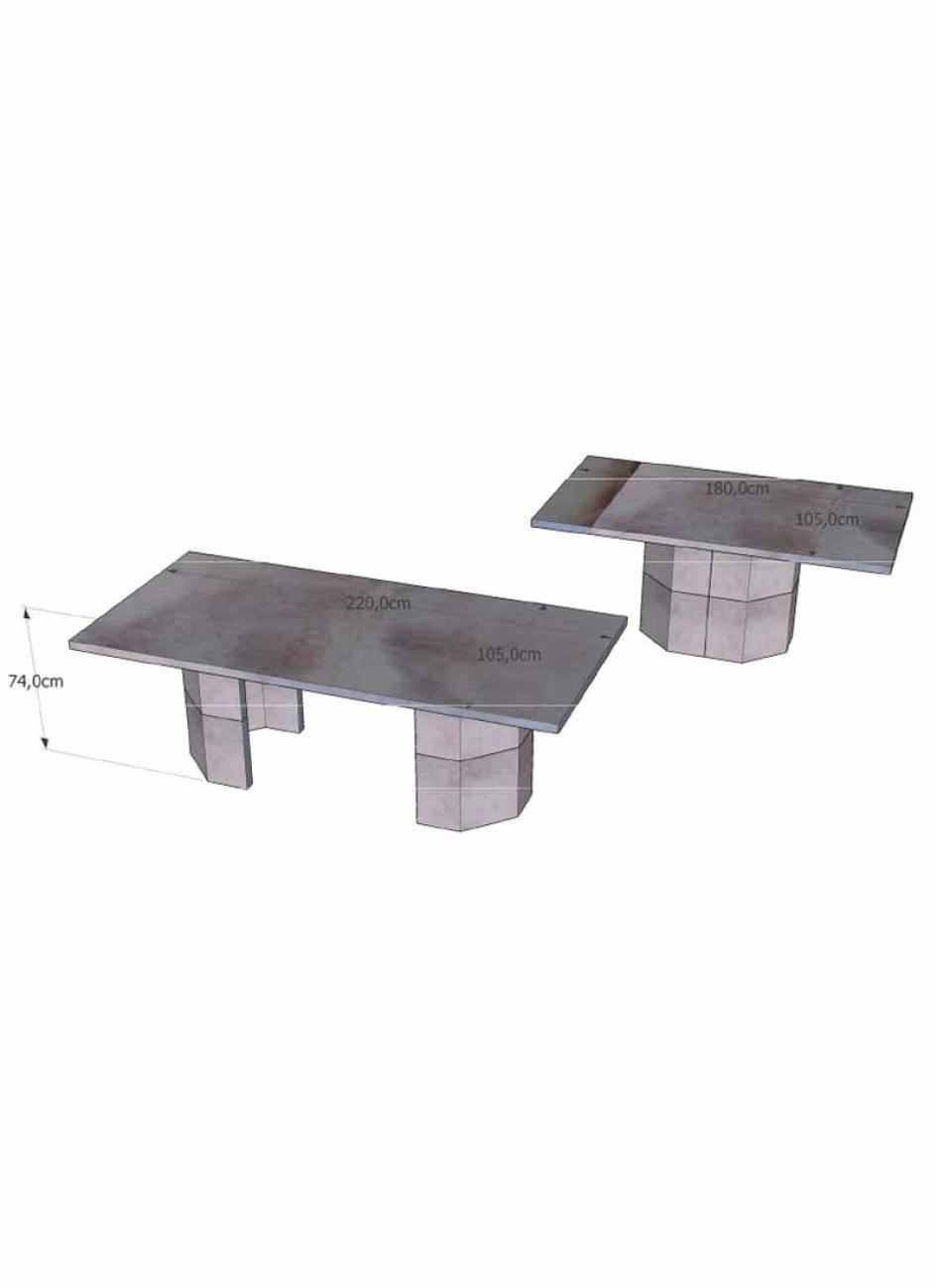 table de jardin en pierre reconstitu e avec banc 10 places. Black Bedroom Furniture Sets. Home Design Ideas